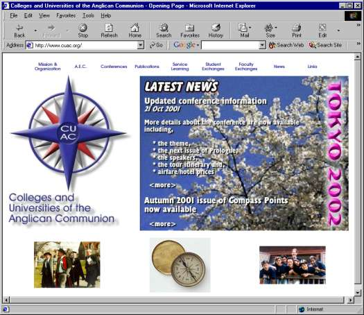 Large view of the CUAC webpage