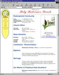 Screen capture of the Holy Redeemer Parish webpage