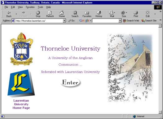 Large view of the Thorneloe University webpage